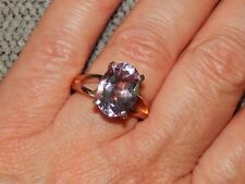 AA ROSE DE FRANCE AMETHYST OVAL SOLITAIRE RING-SIZE O-5.00 CARATS-WITH ROSE GOLD