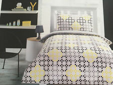 GREY YELLOW BLACK GEOMETRIC DOUBLE bed QUILT DOONA COVER SET BRAND NEW