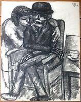 Else (Meyer) Meidner, Kohlezeichnung 1956, signiert, (Ludwig Meidner, Slevogt)