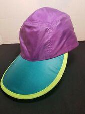 Vintage Columbia 5 Panel Hat Nylon Color Block  Purple Teal Blue  Highlight  90s