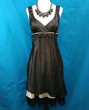 XS Clothing Dress 100% Silk Womens Size S Black & Beige Beaded Sleeveless