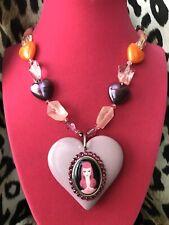 Tarina Tarantino Parlour Girl Portrait Cameo Lucite Heart Swarovski Necklace
