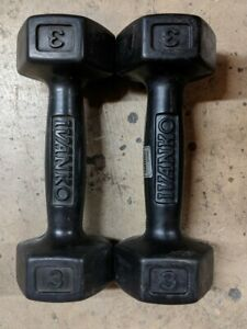 3 lb Pair Ivanko Rubber Coated Dumbbells - 6 lbs Total - FREE SHIPPING!!!
