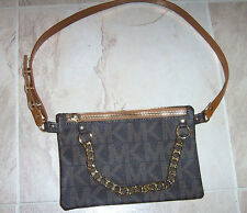 New MICHAEL KORS WOMENS BROWN MK LOGO GOLD CHAIN FANNY PACK BELT BAG XL X-LARGE
