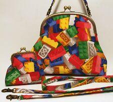 Fun Lego Brick print Handmade Handbag &  Purse set - funky toy print fabric bag