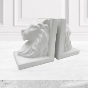 White Pair of Book Ends Bookends Ceramic Lion Heads Ceramic Book End Home Gift
