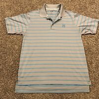 adidas climacool Mens M Gray & Blue Stripe Polo Short Sleeve Shirt A38