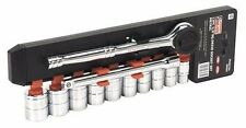 "Siegen 12 Piece 3/8"" Square Drive Driver Ratchet Socket Tools Set Metric - S0504"