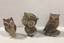 "Set Of (3) Small Owl Statues 2"" T X 2"" W"