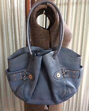 Cole Haan Beautiful Blue Pebble Leather Satchel Hobo Bag