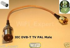 1 x 6 inch IEC DVB-T TV PAL male plug to SMA Male jumper coax cable RG316 USA