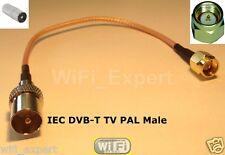 1 x 8 inch IEC DVB-T TV PAL male plug to SMA Male jumper coax cable RG316 USA