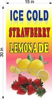 "15"" X 30""  VINYL BANNER ICE COLD STRAWBERRY LEMONADE"