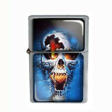 Wind Proof Dual Torch Refillable Butane Lighter Skull Design-005