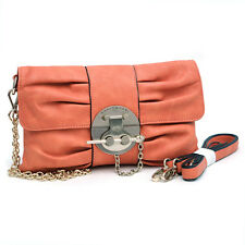 New Women's Handbag Faux Leather Gold-Kissed Pleated Clutch Crossbody Bag Orange