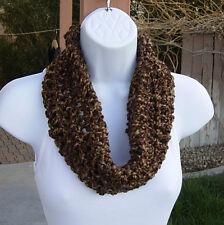 SUMMER COWL SCARF Light Tan, Dark Brown Small Short Crochet Knit Infinity Loop