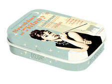 Retro Tin Metal Pill Box 'BREAKFAST AT TIFFANYS' Blue filled with Mints - Audrey