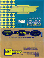 1969 Camaro and Nova Owners Manual with Envelope Z28 Z 28 RS SS Chevy Chevrolet