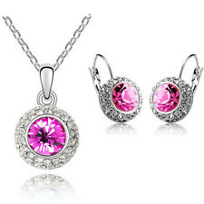 Rose Pink Crystal Jewellery Set Circle Earrings & Necklace with Pendant S256
