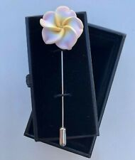 White with Pink Flower Lapel Pin Birthday Gift