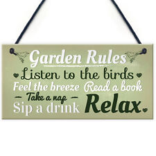 Garden Rules Novelty Hanging Plaque SummerHouse Sign Garden Shed Friendship Gift