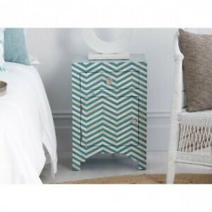 Bone inlay Zigzag bedside Cabinet lamp table Blue (MADE TO ORDER)