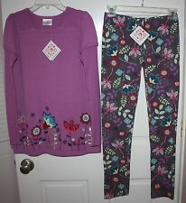 NWT Girls Hanna Andersson Purple Multi-Color 2-Piece Sweater & Leggings Size 150