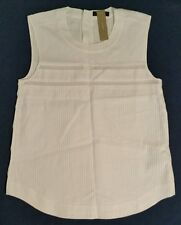 J Crew Pleated cotton sleeveless 00 Small $88 B9889 Blouse Top White Sold out