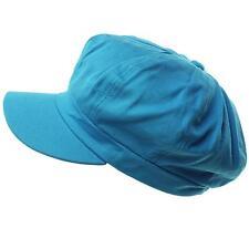 Summer 100% Cotton Plain Blank 6 Panel Newsboy Gatsby Cabbie Cap Hat Turquoise