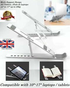 "10-17"" Portable Laptop Tablet Aluminium Stand Desk Holder Adjustable up to 20kg"