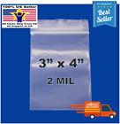 "3""x 4"" Clear Reclosable Zip Seal Bag Plastic 2 Mil Lock Bags Jewelry Zipper"
