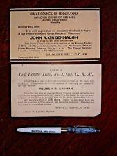 Vintage Memorabilia IMPROVED ORDER OF THE RED MEN death notice postcards & pen