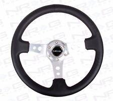"NRG Steering Wheel 06 BLACK Leather & SILVER Trim / Spoke 350mm (3"" DEEP DISH)"