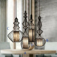 French Country 1 Light Black Metal Bird Cage DIY Ceiling Pendant Light Fixture