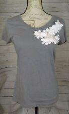 Merona Womens Top Shirt T-Shirt Size Small Textured Flowers Short Sleeve B7/300