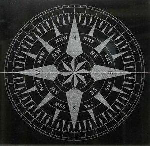 Rosone Granit Windrose Englisch Lasergravur Nero Assoluto KunstwerX
