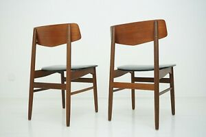 2 Stück 50er 60er Teak Stühle Dining Chairs Danish Design Mid Century Stuhl 60s