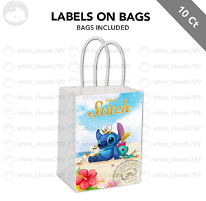 10 Lilo and Stitch Cute Label on White Kraft Gift Bag Party Favor 5.5 x 8