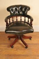 Leather Captains Tub Chair Swivel Office