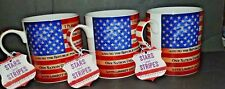 SET OF 3 MUGS ~ STARS AND STRIPES USA FLAG WITH THE PLEDGE OF ALLEGIANCE