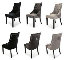 New Heston Dining Chair Velvet Quilted Knocker Back Light Or Deep Grey