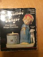 Vintage Jasco Bisque Porcelain Luvkins Christmas Angel Candle Holder 1978 B60