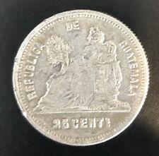 1893 Guatemala 25 Centavos Silver!  #AP30