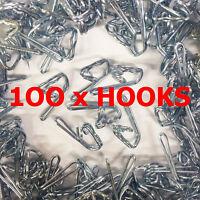 100 x ZINC SILVER CURTAIN HOOKS Strong Metal Header Tape Pencil Pleat - NEW