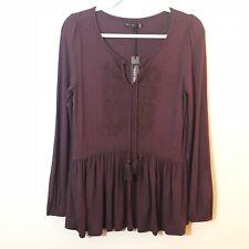 Max Jeans | NWT Plum Purple Peasant Top Blouse Size XS
