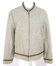 Pendleton Jacket Sz 16 Women Wool Cream Houndstooth Check Leather Trim Zipper