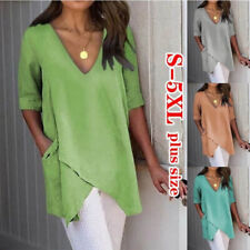 Women Summer Casual V-Neck T Shirt Half Sleeve Tops Solid Blouse Size Plus