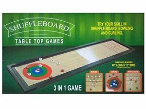Tabletop 3 In 1 Shuffleboard Bowling Curling Game Set Family Fun NEW