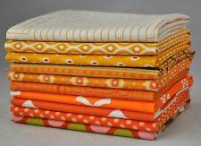 Designer Fabric Bundle Orange, 10 fat quarters, 100% cotton 2.5 yds total