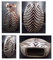"Extra Large Cerami Tiger Stripe Style Vase 17""Tall, Centrepiece,Studio Pottery."